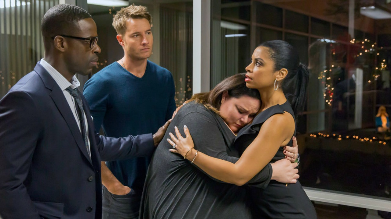 "THIS IS US -- ""Last Christmas"" Episode 110 -- Pictured: (l-r) Sterling K. Brown as Randall, Justin Hartley as Kevin, Chrissy Metz as Kate, Susan Kelechi Watson as Beth -- (Photo by: Ron Batzdorff/NBC)"